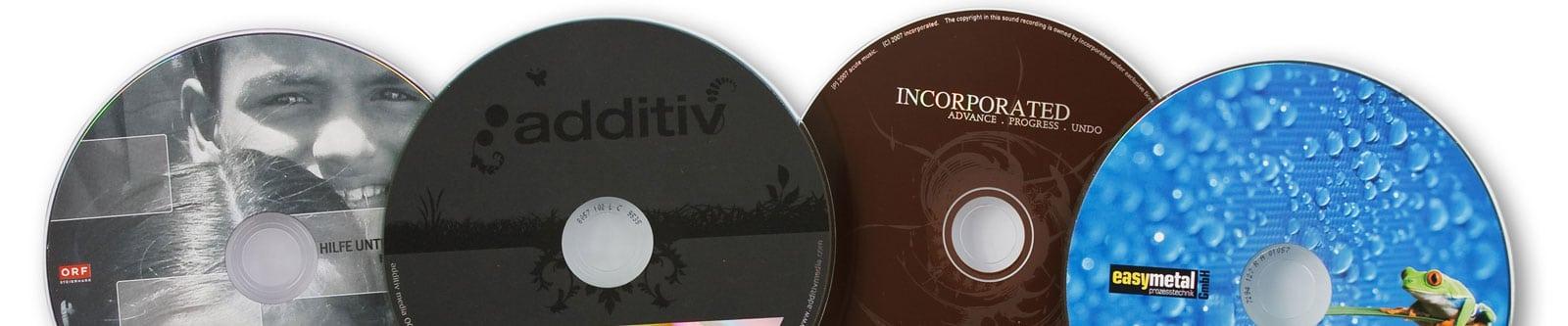 Bedruckte CD-R DVD-R Blu-ray Rohlinge Header